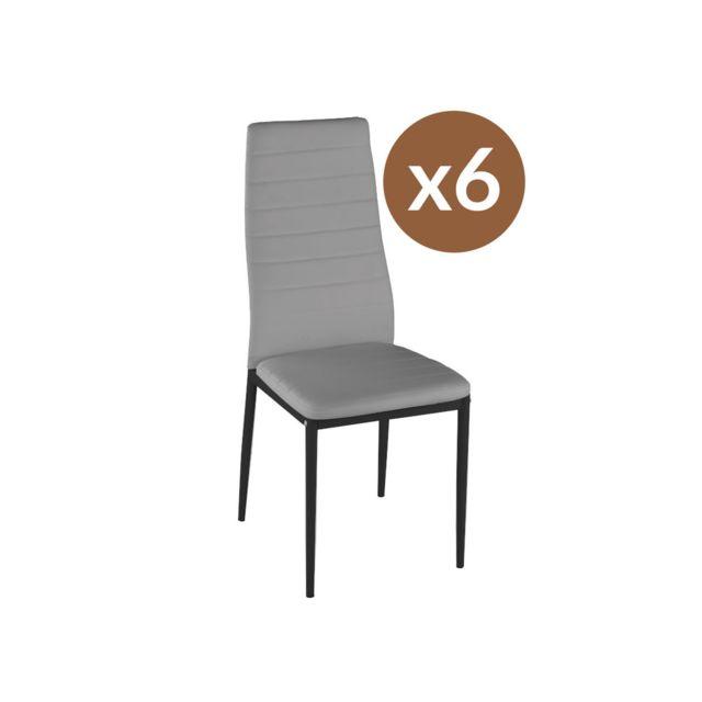 HABITAT ET JARDIN Lot de 6 chaises Lina - Gris