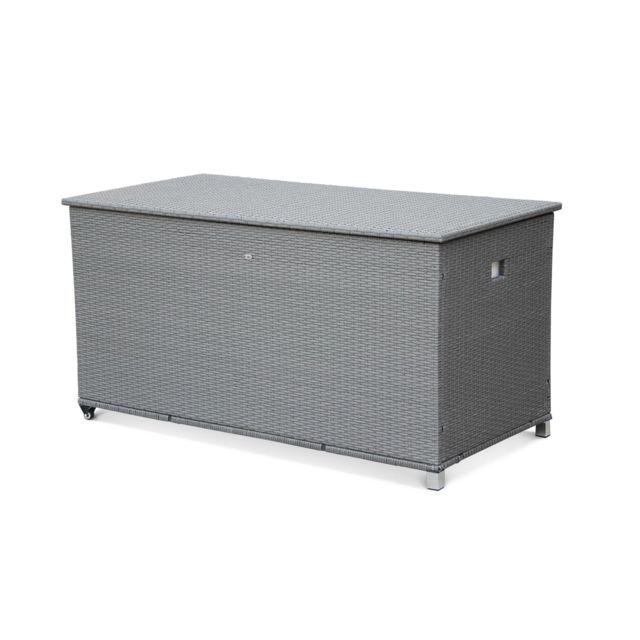 alice 39 s garden coffre de jardin en r sine tress e cassapanca gris 790l v rins roulettes. Black Bedroom Furniture Sets. Home Design Ideas