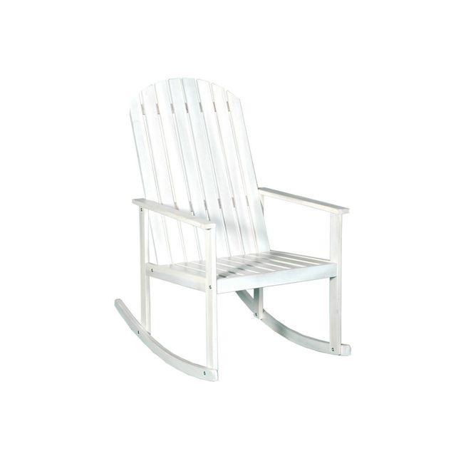 House Bay Rocking chair en acacia Fsc Longrock - Blanc