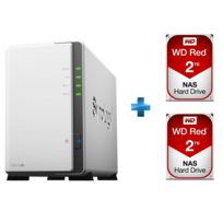 SYNOLOGY - DS216J + 2 disques durs WESTERN DIGITAL WD Red 2 To