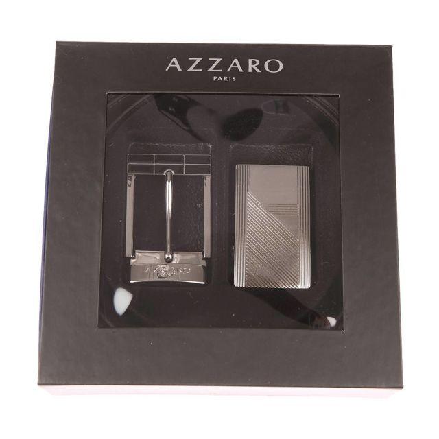d765c7df629 Azzaro - Coffret ceinture ajustable en refente de cuir de vachette noir  réversible marron   boucle pleine rainurée et boucle bicolore à ardillon -  pas cher ...