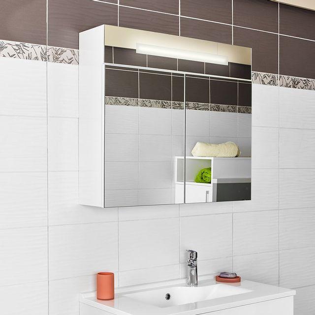 Creazur - Armoire miroir 2 portes salle de bain Armiroir - 70 cm ...