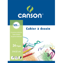 CANSON - Cahier à dessin 24 x 32 - Feuilles blanches