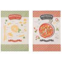 Coucke - Lot De 2 Torchons Pizzaïolo En Coton Multicolore - 50 X 75 Cm