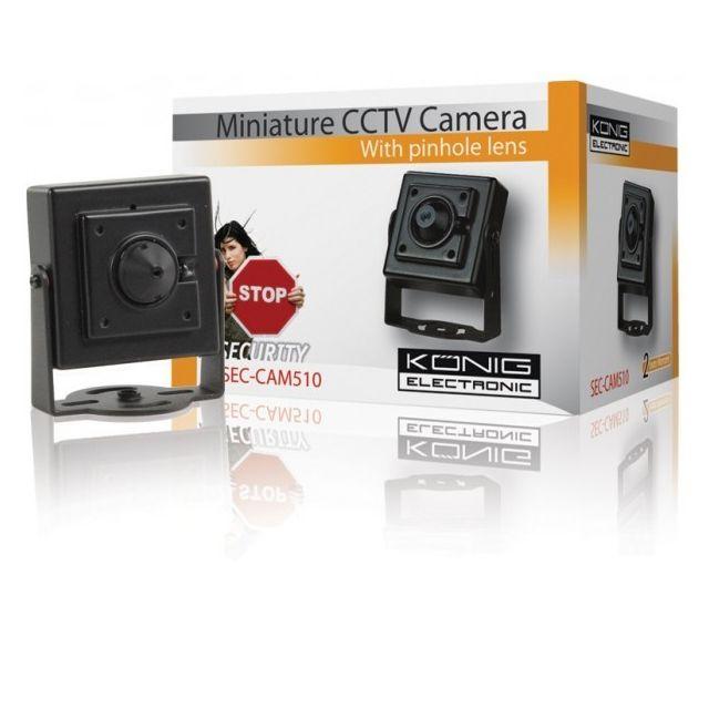 """Konig Camera Cctv couleur miniature König • Capteur d'images: 1/4"""" Sharp Ccd• Angle de vue: 65°• Sensibilité: 1 Lux• Compensation contre-jour: On/off (optionnel)• Obturateur électronique: 1/50~1/100.000sec• S/N ratio: >48dB• Equilibre des blancs: Aut"""