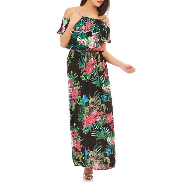be6bc667c714a Lamodeuse - Robe noire à col bardot et motifs fleuris - pas cher ...
