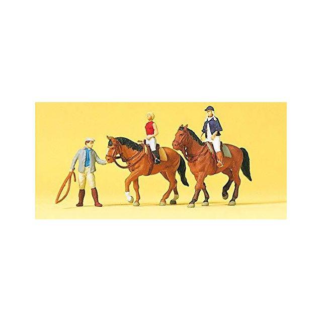 Preiser 10502 Riding Lesson with 2 Horses & Teacher