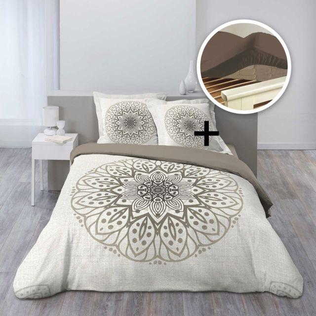 douceur d 39 interieur cdaffaires pack parure housse couette 260x240 2 to 63x63 symetrix 1 dh. Black Bedroom Furniture Sets. Home Design Ideas