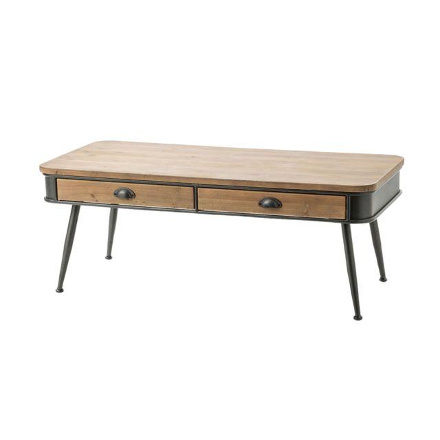HELLIN Table basse en bois et métal BILBAO