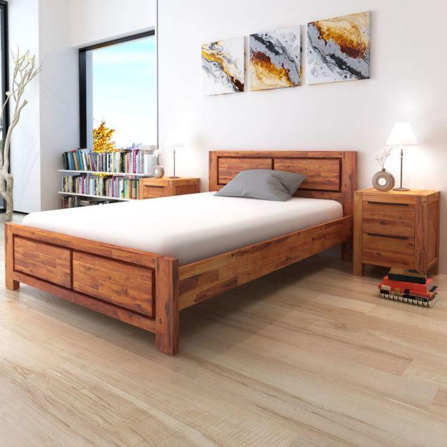 sans marque cadre de lit avec matelas bois dacacia massif marron 140x200cm voir - Cadre De Lit Bois Massif