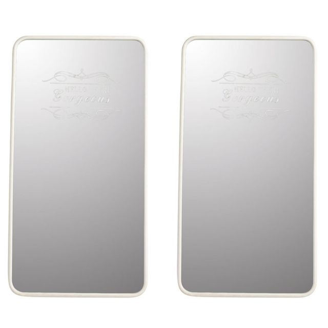 Tousmesmeubles Duo de Miroirs rectangulaire Métal blanc - Waziri