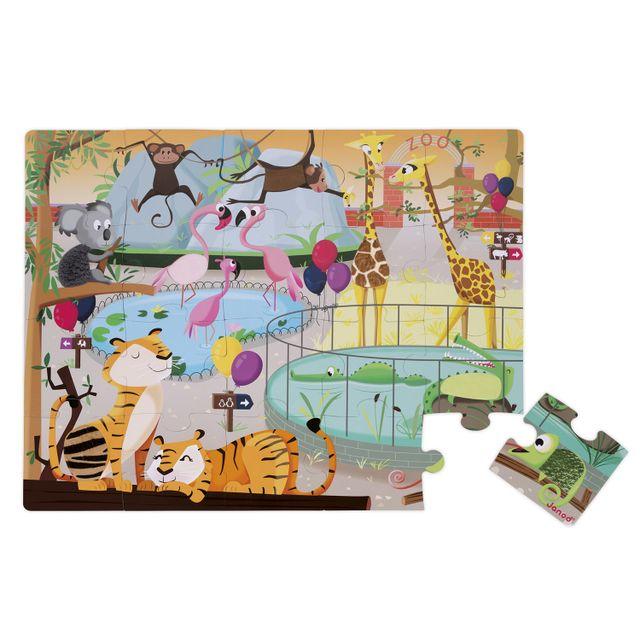 JANOD Puzzle tactile 20 pièces : Une journée au zoo