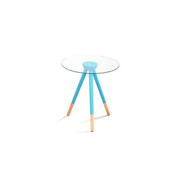 meubletmoi table basse scandinave avec plateau verre et pied bois bleu pop 45cm x 45cm pas. Black Bedroom Furniture Sets. Home Design Ideas