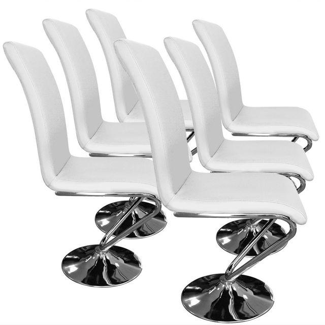 Lot de 6 chaises Colami Blanc pas cher Achat Vente