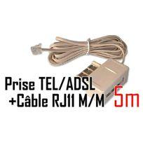 Cabling - Filtre Adsl + Câble Rj11/RJ11 Cat 5 m/m - 5 métres de couleur beige cable et prise gigogne Adsl2 pour raccorder une ligne France Telecom