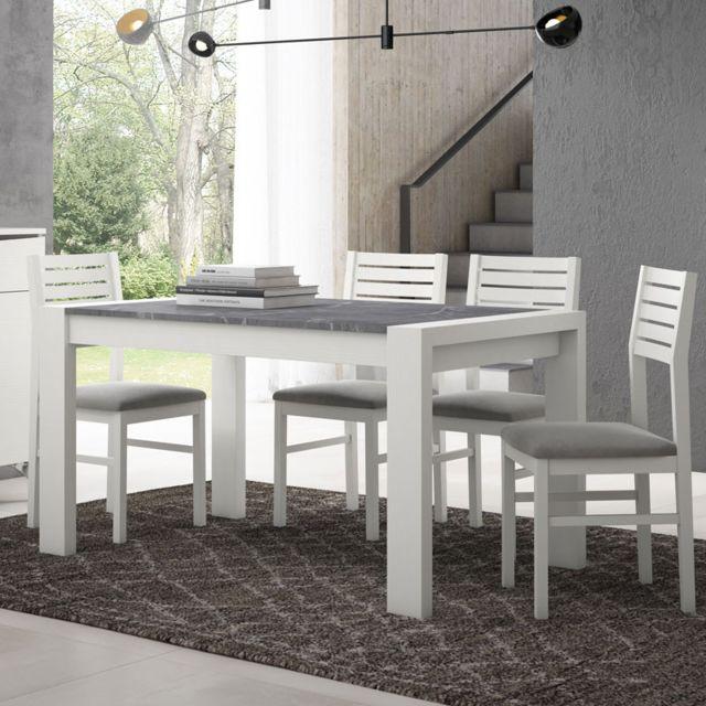Ensemble Table & Chaises Bois blanc/Marbre gris - Camelia