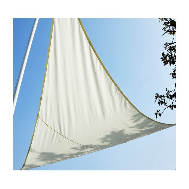 homcom voile d 39 ombrage impermeable triangulaire 6x6x6m parasol toile taud de soleil creme 44. Black Bedroom Furniture Sets. Home Design Ideas