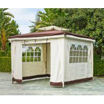 """Hevea Jardin - Hevea - Tonnelle toile à rideaux 3 x 3 m couleur écru & chocolat """"Sidney"""