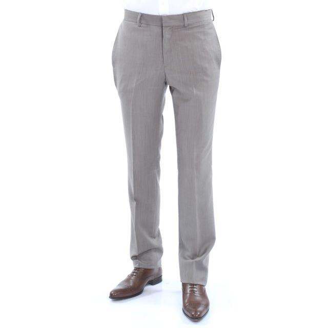 Pantalon homme fitté fil à fil de pure laine