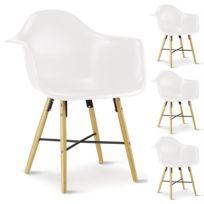 Idimex - Lot de 4 chaises Emilio blanches