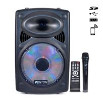 """Fenton - Enceinte mobile 12"""" Bt/MP3/USB/SD/VHF/LED batterie"""