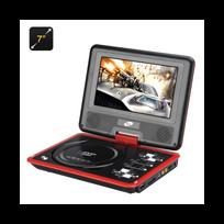 Auto-hightech - Lecteur Dvd portable 7 pouces large écran couleur Tft, eBook, Radio Fm, contrôleur de jeu, Antenne Tv Rouge