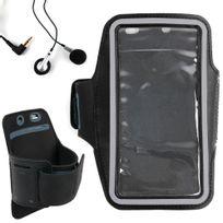 Duragadget - Brassard de sport / course / jogging noir pour smartphone, Mp3/MP4 + écouteurs Dimensions : 155 x 75 mm