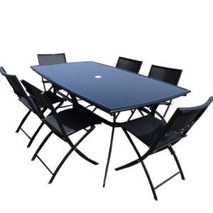 Dcb Garden Salon De Jardin Table Aluminium 6 Chaises Noir Plateau Verre Fum Noir Shiny