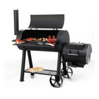 Outdoor - Grand barbecue Xxl familial tonneau américain - Avec fumoir - Très solide 75Kg