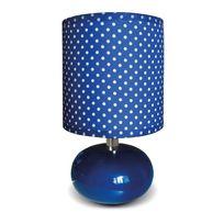 """Paris Prix - Lampe à Poser Pois """"Alonsa"""" 25cm Bleu Marine"""
