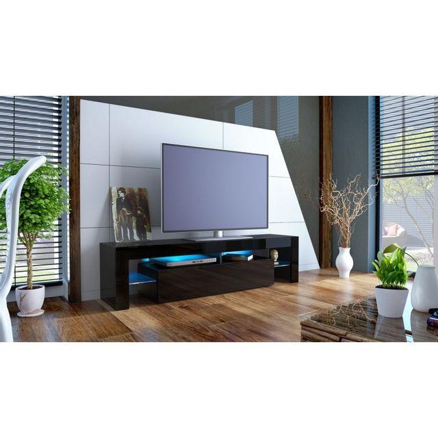 Mpc Meuble tv noir avec led 151 cm