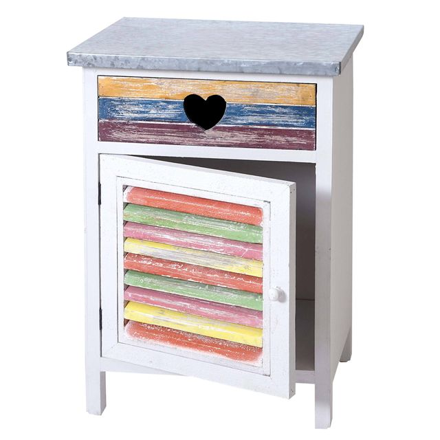 Mendler Commode Reno, armoire, style shabby, vintage, multicolore 64x41x33cm ~ blanc