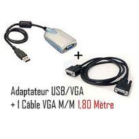 Cabling - Adaptateur Vidéo Carte Graphique Externe Usb 3.0 Usb 2.0 vers Vga Câble Convertisseur 1x Db15 Femelle 1x Usb A Mâle jusqu'à 2048x1152 + Cordon Vga M/M 1.8M