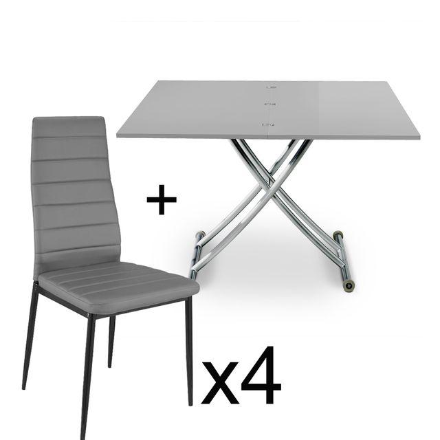 Table basse relevable Gris laqué et lot de 4 chaises Gris
