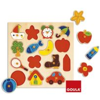 Goula - Encastrement 15 pièces en bois : Puzzle silhouettes