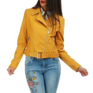 lamodeuse veste jaune moutarde en simili cuir avec clous pas cher achat vente veste femme. Black Bedroom Furniture Sets. Home Design Ideas