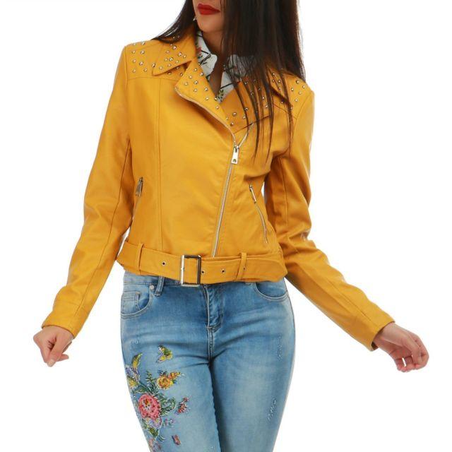 Veste en cuir jaune pas cher