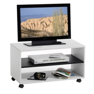 idimex meuble tv sur roulettes mdf blanc noir blanc noir. Black Bedroom Furniture Sets. Home Design Ideas