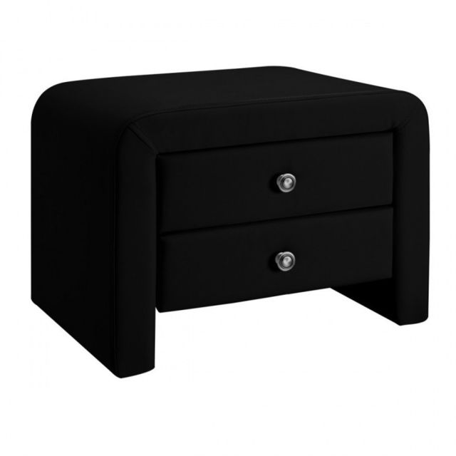 Meubler Design Table chevet design en simili cuir Eva - Noir