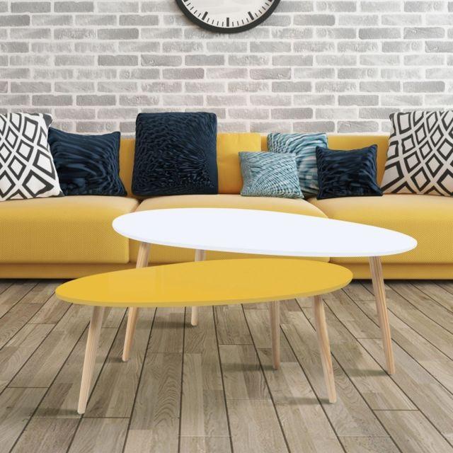 Idmarket Lot de 2 tables basses gigognes laquées jaune blanc scandinave