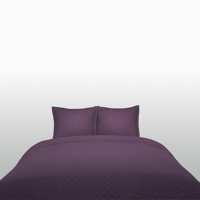 tex home parure vincennes housse de couette 2 taies d 39 oreiller en coton prune pas cher. Black Bedroom Furniture Sets. Home Design Ideas