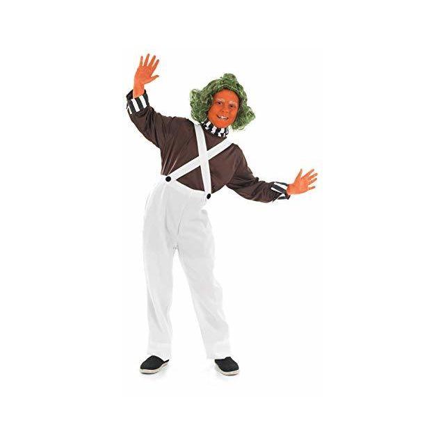 Fun Shack Boys Oompa Loompa Costume Kids Chocolate Factory Worker Dungarees Outfit - Medium