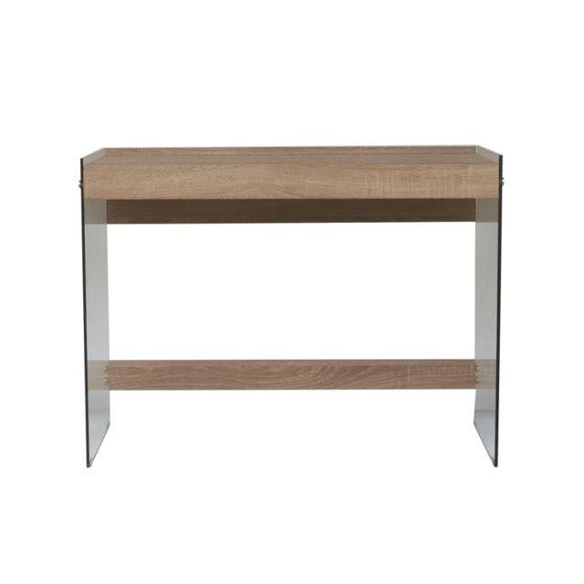 Bureau plateau en bois avec parois en verre - 100 x 50 x 74 cm