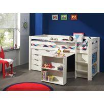 Modern Life - Lit compact avec bureau, commode et bibliothéque blanc