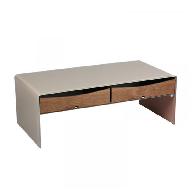 Dansmamaison Table basse 2 tiroirs Verre/Bois - Palta - L 120 x l 60 x H 43 cm