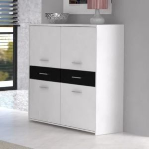 finlandek salle a manger buffet haut 113cm blanc noir pas cher achat vente buffets. Black Bedroom Furniture Sets. Home Design Ideas
