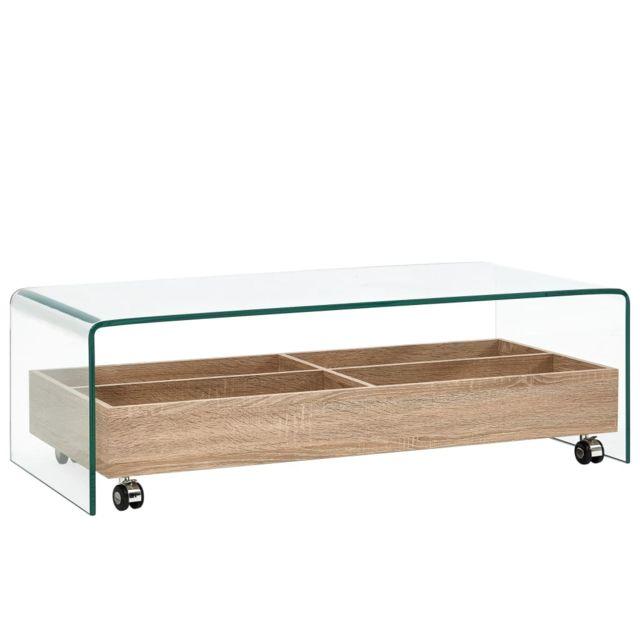 Vidaxl Table Basse Clair 98x45x31 cm Verre Trempé Salon Maison Table d'Appoint