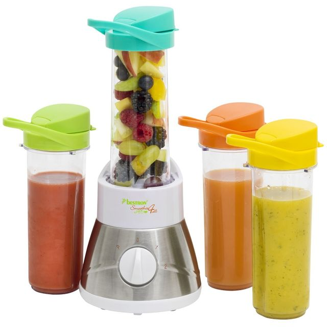 bestron smoothie blender fruits entier mix s et pur jus de fruits avec 4 becs 400w. Black Bedroom Furniture Sets. Home Design Ideas