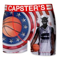 Capster'S Official - Boxer Homme Microfibre Bba Blanc Rouge