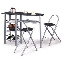 Idimex - Table haute de bar chaises Style Mdf noir